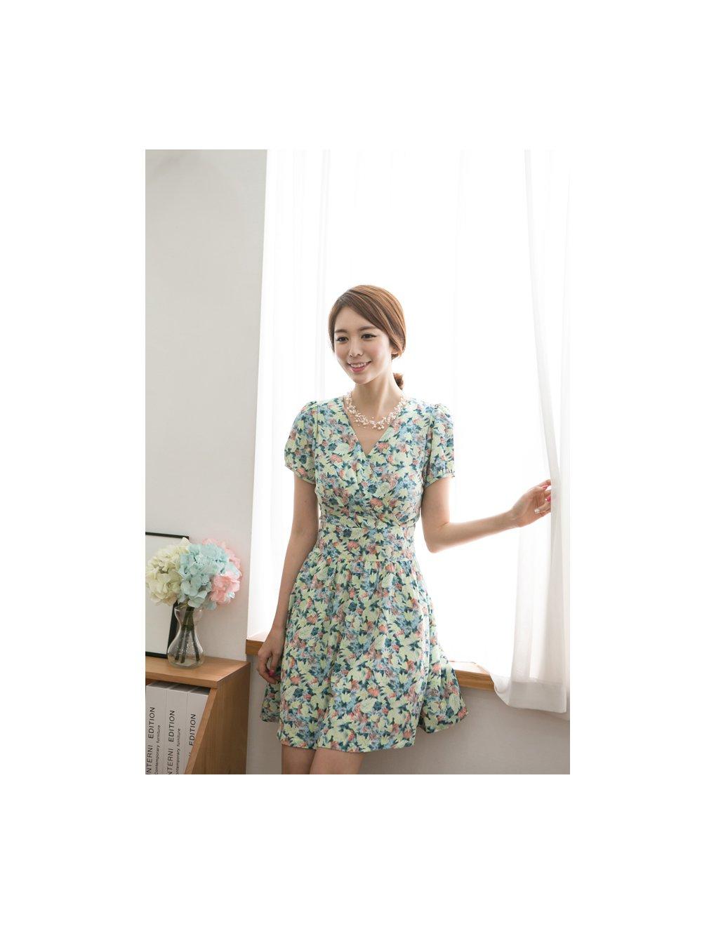 caolalaopodemeimei_ode 女士绿色短袖雪纺连衣裙 m码 363659009